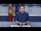 Video: Rueda de prensa de Íñigo Errejón tras la junta de portavoces del 29 de Noviembre
